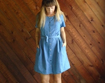 extra 30% off SALE ... Denim Mini Dress SS Button Down - Vintage 90s - S M