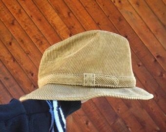 Tan Brown Corduroy Fedora Hat Cord - Vintage 80s - MEDIUM M