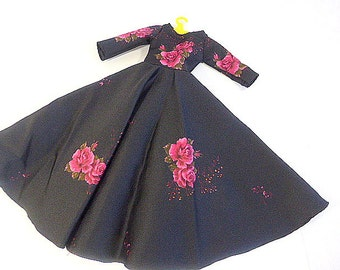 Vintage Hand Made 16-18 Inch Doll Dress  Floral Satin Doll Gown   Black Satin Gown  for 16-18 Inch Doll  Formal Dress for 18 Inch Doll