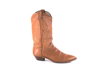 Cowgirl Boots Vintage Caramel Brown Western Rocker Boho Leather Urban Cowboy Boots Size 8