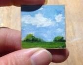 "Fridge magnet tiny landscape on wood panel 1 1/4"" square"