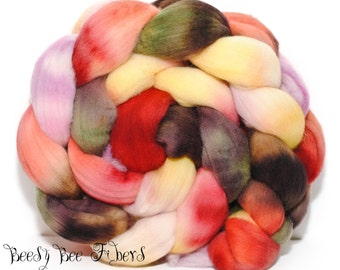 CITRUS SALAD - Domestic Merino Hand-Dyed Hand Painted Combed Top Wool Roving Spinning Felting Fiber - 4.2 oz