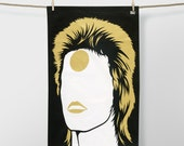Special Edition Bowie Tea Towel, David Bowie Tea Towel, Gold Tea Towel, Black Tea Towel, Ziggy Stardust Tea Towel, Aladdin Sane Tea Towel