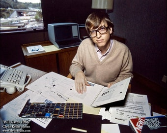 BILL GATES 1984, Microsoft founder in his office, Clyde Keller Photo, Fine Art Print, Color, Signed
