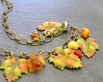 Autumn Leaves Necklace, Leaf Charm Jewelry