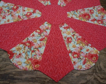 Coral Flowers Table Topper Reverses to Christmas
