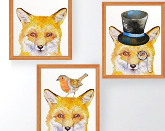 SALE-3 Fox print, fox wall art, woodland nursery print, nursery fox decor, yellow nursery decor, fox printable, watercolor fox,robin, hat