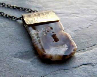 Natural Gemstone Jewelry-Boho Jewelry-Boho Chic-Tribal Jewelry-Long Necklace-Agate Slab-Drusy Necklace-Druzy Jewelry