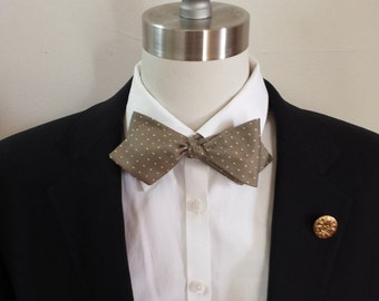 Olive Silk Swiss Dot Bowtie
