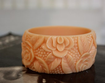 A Peachy Rose | Vintage Rose Carved Chunky Celluloid Cuff Bracelet Bangle in Pastel Peach | One Size