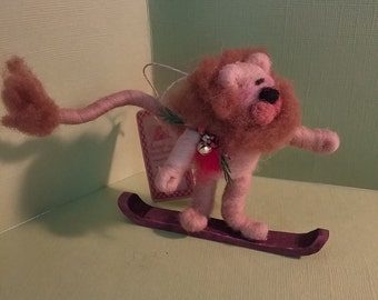 Lion on Snowboard Felted Wool Ornament - New