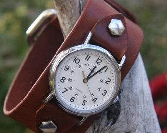 Timex-Leather Watch-Men's Watch-Fossil-Leather Cuff-Big Watch-Custom Watch-Handmade Watch-Sundance-Rugged-Throwback-Bohemian-Fine Leather