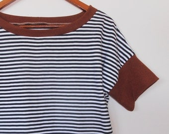 black and white stripes...striped knit loose fit ladies t shirt