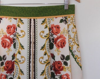 rosie...vintage tablecloth high waist pleated skirt with pockets