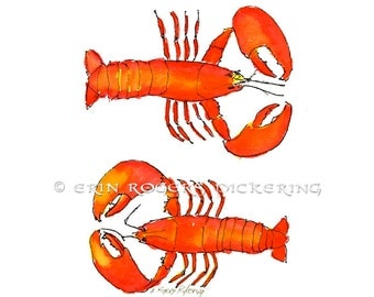 Fresh Maine Lobsters 8x10 kitchen art print