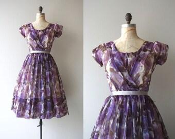 Méthystos dress   vintage 1950s dress   floral chiffon 50s party dress