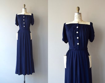 Ortschaft crepe dress | vintage 1930s dress | long 30s dress