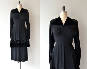 Historic Accord dress | vintage 1940s dress | black 40s dress