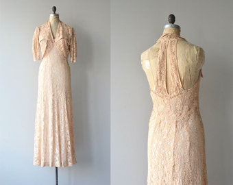 Lisle lace dress | vintage 1930s dress | long lace 30s dress and jacket