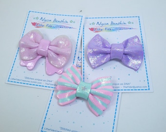 Pastel kawaii bow brooch pin - fairy kei polymer clay pin accessory