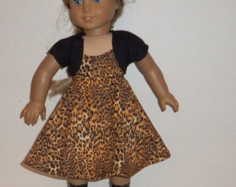 Doll Dress, 18 Inch Doll Modern, Leopard  Print, Black Shrug, Bolero, Cotton, Party, Special Occasion, American Made, Girl Doll Clothes