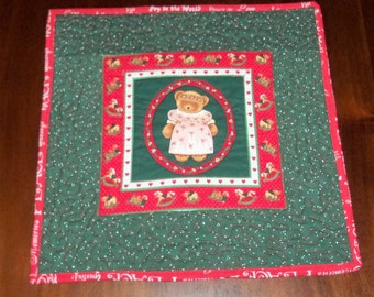 Quilted Table Runner, Square Placemat, Handmade, 13x13 Inches, Goodnight Teddy, Table Topper,  Mug Rug, Machine Quilted