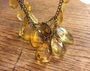 Yellow lucite like necklace