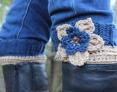 Blue & Tan Boot Cuff with flower