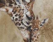 Giraffe Nursery art Giraffe print Nursery Giraffe art PRINT Giraffe Nursery giraffe painting dorm decor 11x14 wall art boho nuetral baby
