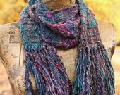 Gypsy Fringe // Merino Hand Spun Knit Crescent Scarf // A Limited Edition