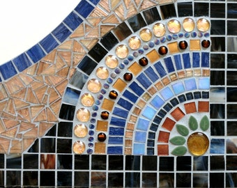 Large Custom Mosaic Mirror Brown Blue Gold//Bathroom Mirror//Vanity Mirror//Home Decor//Wall Decor//Mixed Media Art
