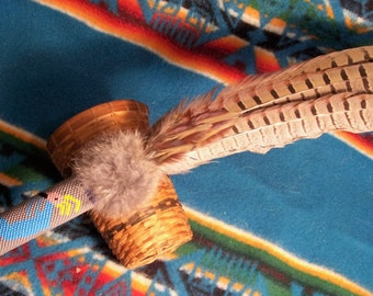 Smudge Fan Prayer Fan Smudge feather Gourd Stitch Beaded-Kokopelli