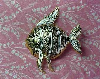 Vintage Damascene Style Tropical Fish Brooch pin