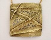 Fold formed brass pendant on chain - brass necklace - brass pendant - brass rolo chain - modern style