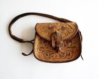 Petite Vintage Hand Tooled Leather Shoulder Bag