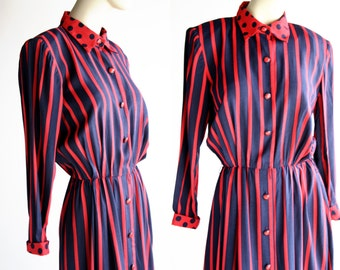 Vintage Leslie Fay Stripe Red and Navy Blue with Polka Dot Collar and Trim Midi Length Dress