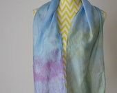 New hand dyed Habotai silk scarf 'Tropical Night'