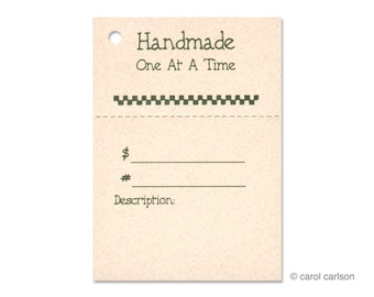 """100  """"Handmade One At a Time"""" Hang Tags, Price Tags, for Gifts & Crafts. Strings Included.  Perforated For Price."""
