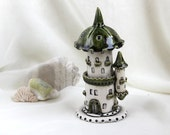Reserved for Nancy - green-olive Tower of tiny fairies -- Hand Made Ceramic Eco-Friendly Home Decor by studio Vishnya