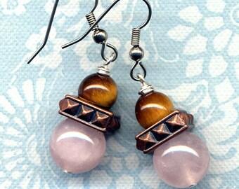 Rose Quartz Earrings, Tiger Eye Earrings, Surgical Steel Earrings, Tribal Earrings, Cooper Brown Pink Earrings, handmade by Annaart72