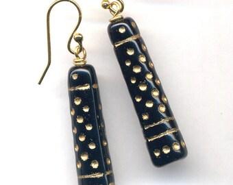 Black Gold Earrings / 18 K Gold Gold Filled Earrings / Vintage Czech Glass Earrings / Long Black Earrings / Gift for Her under 20 / by anna
