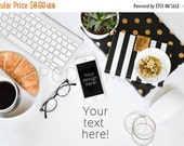 CLEARANCE SALE Styled Stock Photography, white desk w/ notebook, black, gold, notebook, web design background, blogger image, social media i