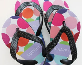 MULTI CIRQUE personalized flip flops in adult and kid sizes