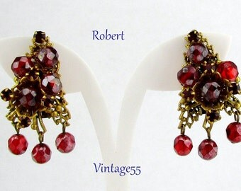 Earrings Red Beaded Bohemian Filigree by Robert
