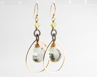Simone Earrings: Green Amethyst & Peridot Gemstone Teardrops on Two-Tone Silver and Gold Forged Hoops, Green, Modern, Coiled, Bright