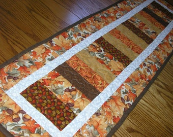 Quilted Table Runner, Fall Stacked Coins/Whimsical Turkeys Reversible Runner,  12 1/2 x 41 1/2  inches