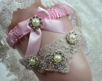Wedding Garter Set,,Pink Garter Set ,Pink Bridal Garter, Pink Garter belt