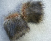 Faux Fur Wrist Cuffs, Fur Sleeves, Wrist Warmers, Brown/Black Tipped Fox Faux Fur Wrist Cuffs