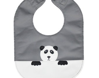 Leather baby or toddler bib with monochrome panda design, reversible with a pocket - can be personalized or customized