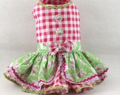 Gingham Easter Bunny dog dress
